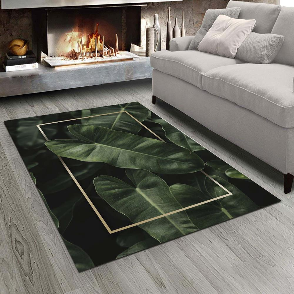 Else Green Tropical Leaves Border Designs 3d Print Non Slip Microfiber Living Room Modern Carpet Washable Area Rug Mat