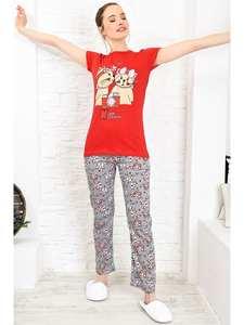 Trend Alacati Style Women Red Printed Pajamas set ALC-X3966