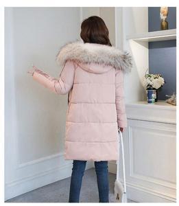 Image 2 - 2019 nouveau hiver mince vers le bas coton mi long décontracté à capuche femmes parka grand col de fourrure fermeture éclair épais chaud mode