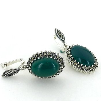 Custom Production Natural Green Agate Marcasite Silver Earrings