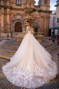 Image 4 - Sexy Mermaid Wedding Dresses Detachable Skirt 2020 Applique Lace Long Sleeve Button Back Bridal Wedding Gowns For Bride