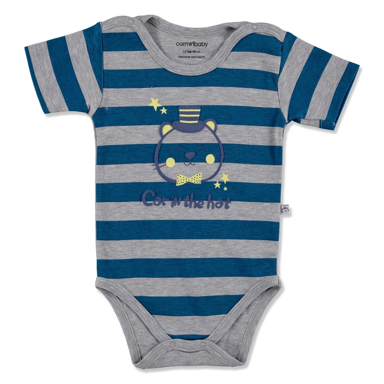 Ebebek Carmin Baby Summer Boy Bowtie Cat Printed Interlock Short Sleeve Bodysuit