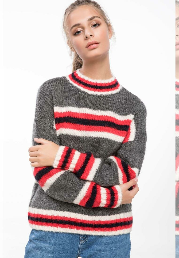 DeFacto Women Crew Casual Striped Pullovers Women Simple  Harajuku Leisure Loose Long Sleeve Pullovers-J2197AZ18WN-J2197AZ18WN