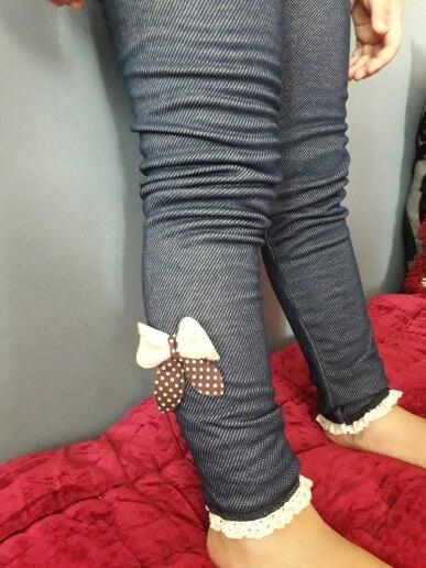 2019 thick warm winter spring Jean pants Bow Girls Leggings Kids trousers children  icing leggings|Pants|   - AliExpress