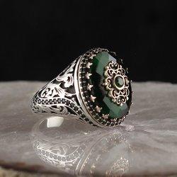 Кольцо из стерлингового серебра 925 пробы для мужчин желтое Aqeq камень оникс Циркон ювелирные изделия модный винтажный подарок Сделано в Турц...