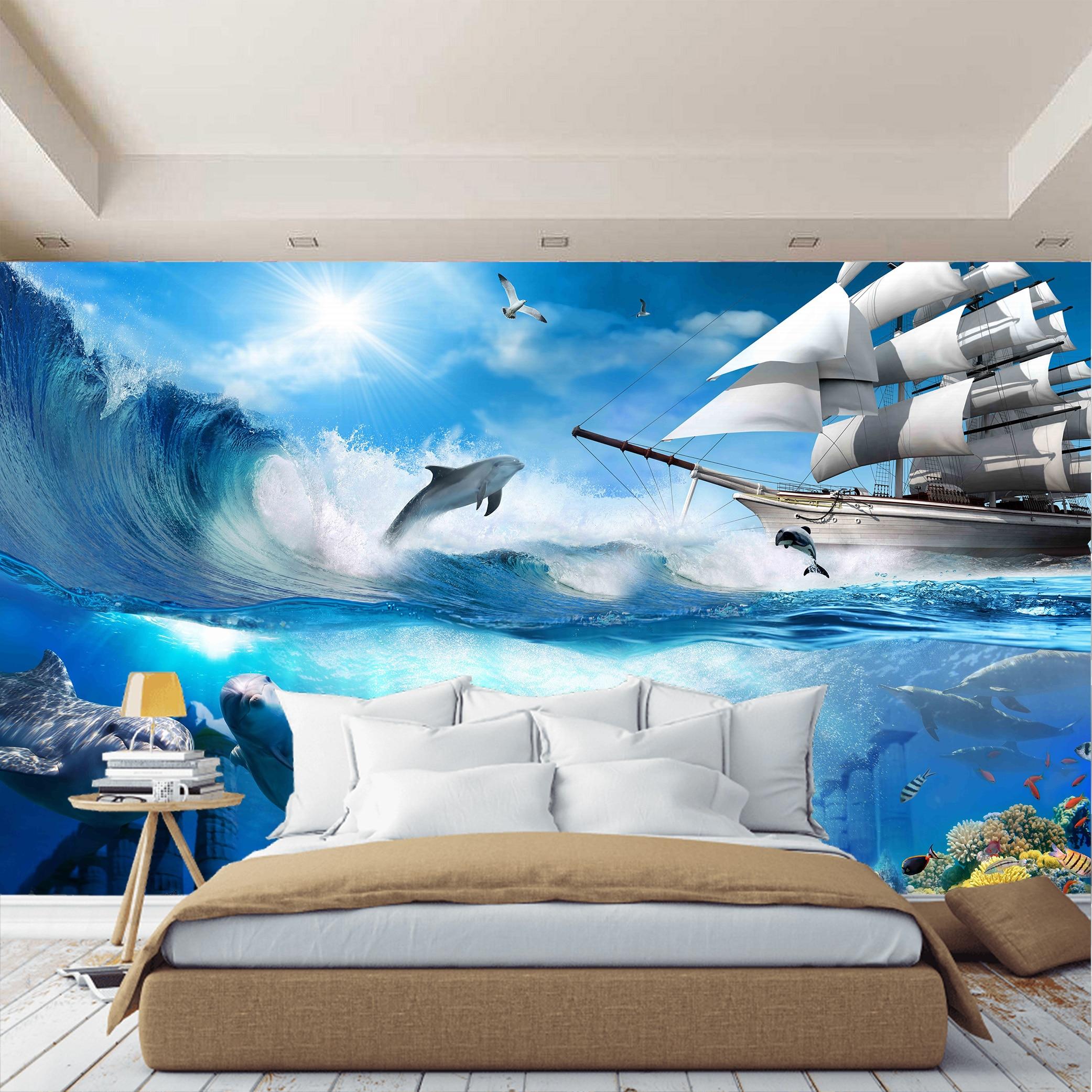 3D Wall Mural Water World Ocean Sea Fish Wallpaper For Hall Kitchen Bedroom Kids Wall Mural