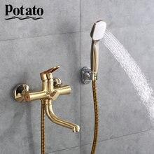 Potato 5 цветов водопроводный кран для ванной комнаты длинная