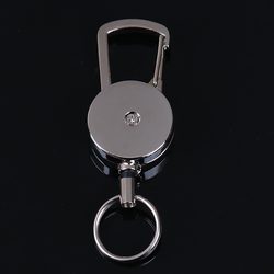 1pcs Retractable Pull Key Ring Chain Belt Clip with Carabiner Reel Card Badge Holder Recoil Extends To 50cm