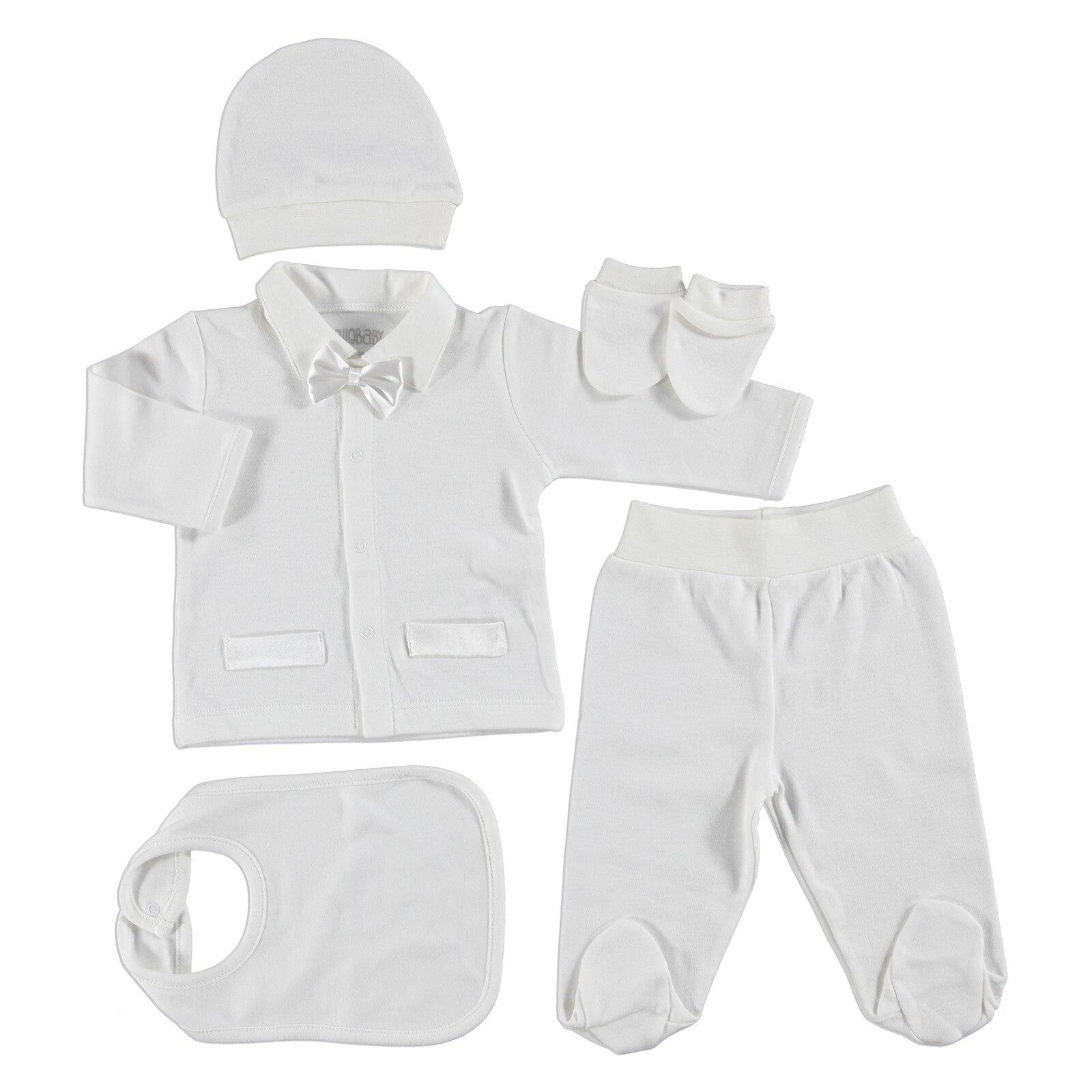 Ebebek HelloBaby Bowtie Baby Newborn Hospital Pack 5 Pcs (Newborn Boy Clothes Toddler Infant Set)