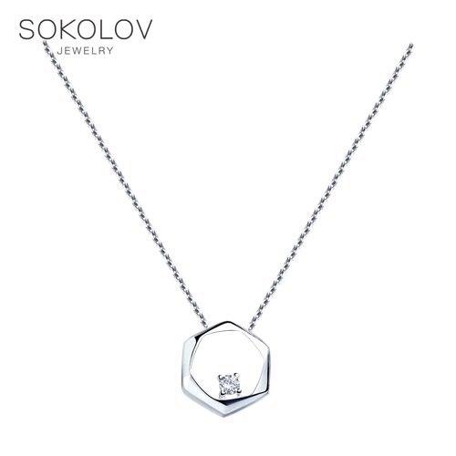 Collier Sokolov en argent avec zircon cubique, bijoux fantaisie, 925, femme/homme, homme/femme, femme homme