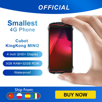 "Cubot KingKong MINI2 Rugged Phone 4"" QHD+ Screen Waterproof 4G LTE Dual-SIM Android 10 3GB+32GB 13MP Camera MINI Phone Face ID 1"