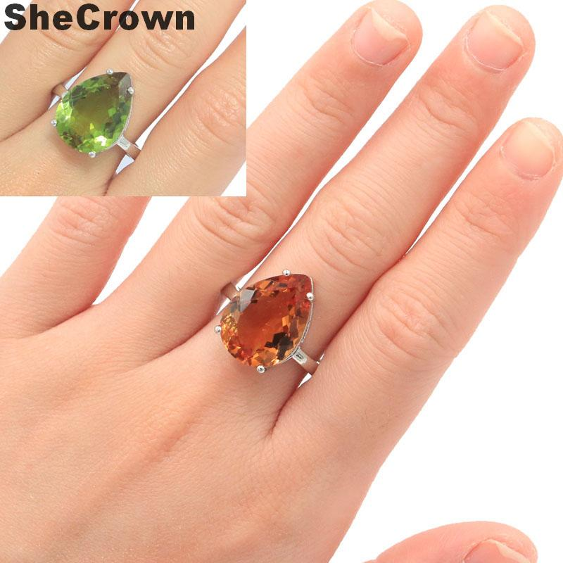 18x13mm Elegant Created Color Changing Zultanite SheCrown Gift For Sister Silver Rings
