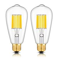 LED Bulb 3200K Soft White, 700LM 70W Equivalent E26 Medium Base, Vintage ST64 Clear Glass LED Filament Light Bulbs, Pack of 6
