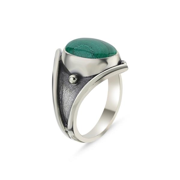 Silver 925 Sterling Malachite Stone Handwork Ring