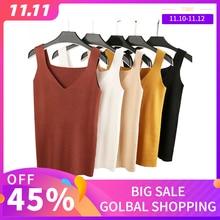 GOPLUS 2020 Sexy V Neck Knitted Crop Top Womens Shirt Plus size Tank Top Underwear Women Casual Streetwear Clothing For Women