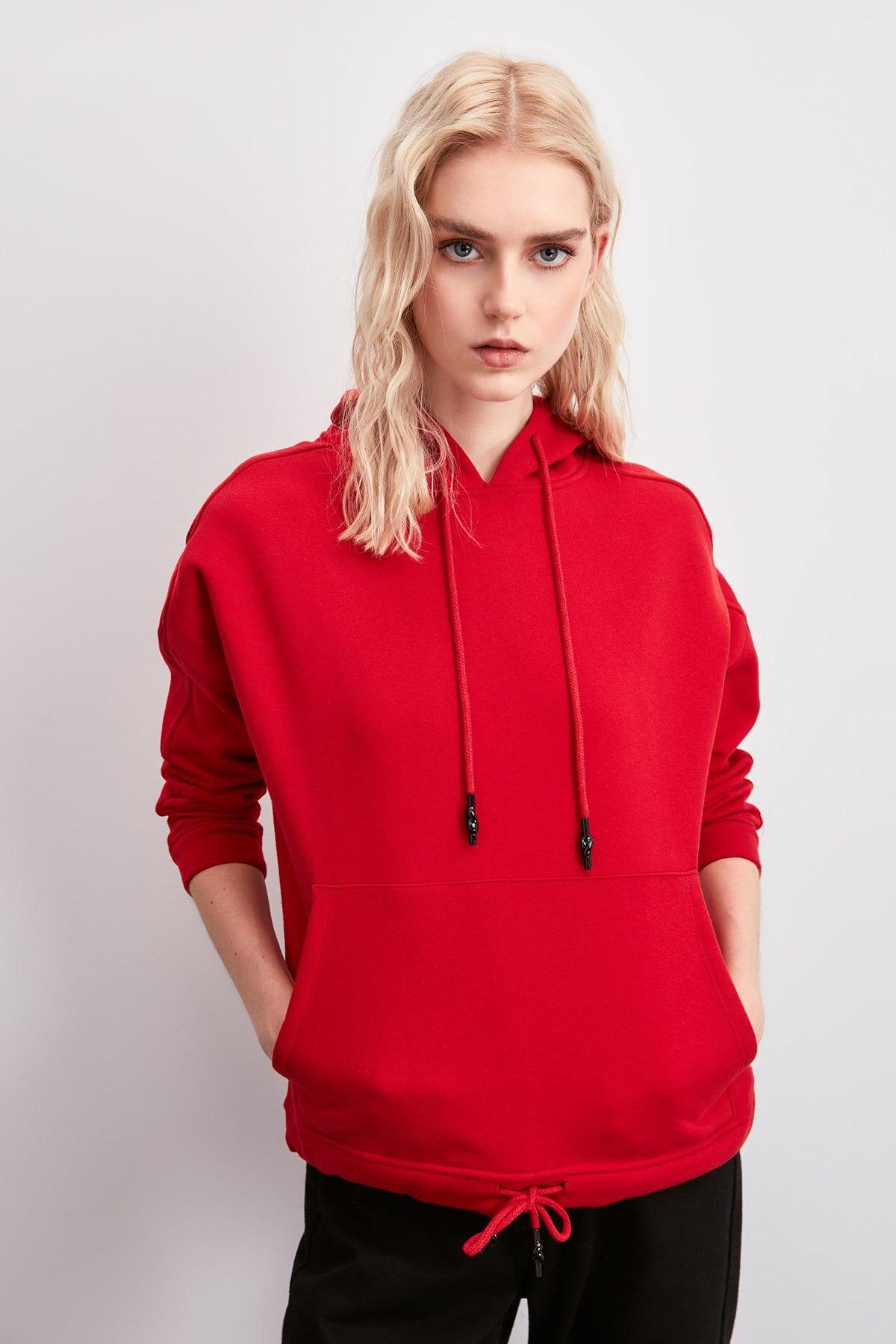 Trendyol Hooded Şardonlu Knitted Sweatshirt TWOAW20SW0791
