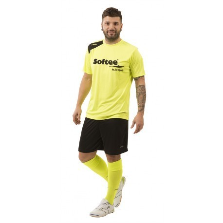 CAMISETA SOFTEE FULL BY JIM SPORTS HOMBRE - TALLA XXL - COLOR AMARILLO FLUOR Y NEGRO