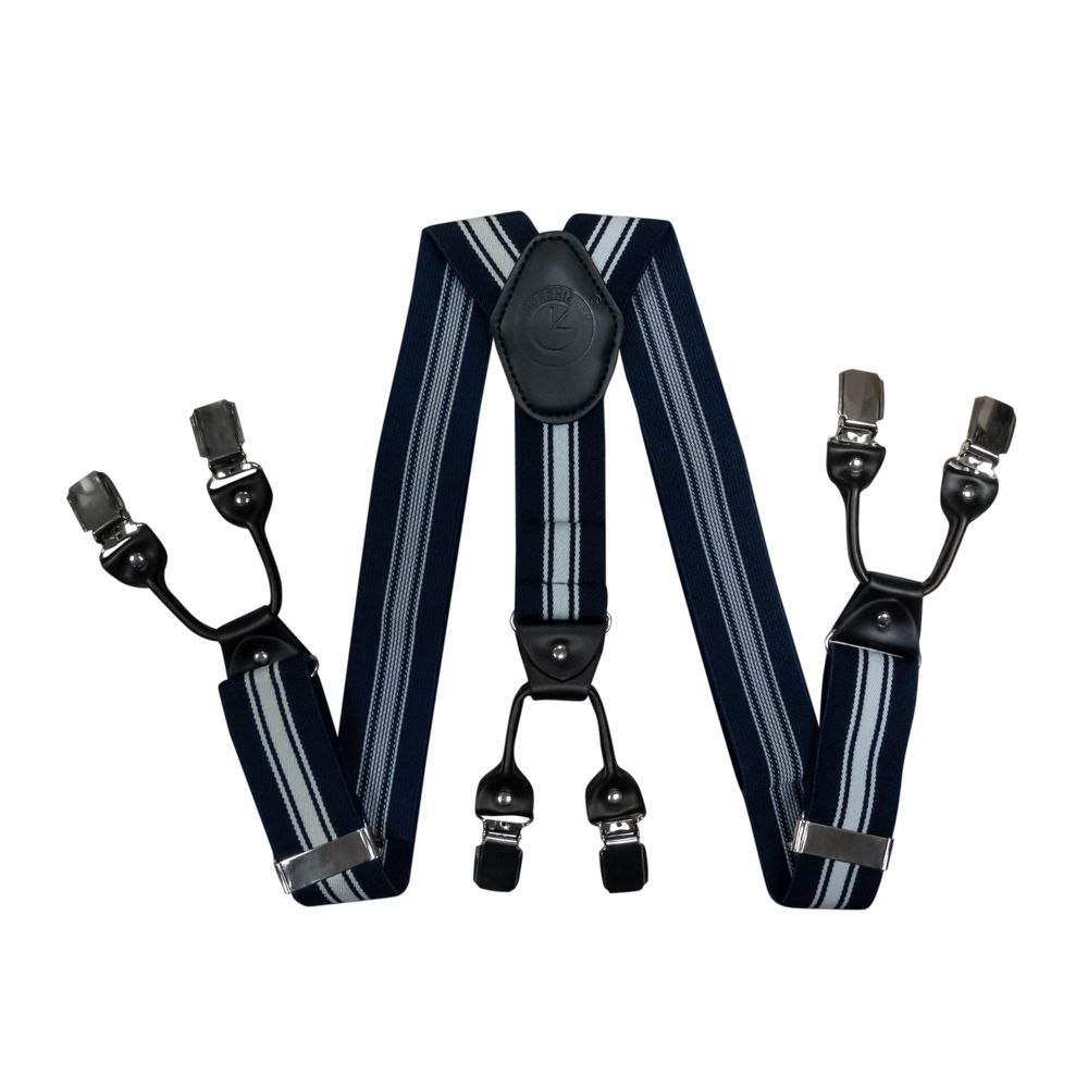 Suspenders For Trousers Wide (4 Cm, 6 Clips, Blue Striped) 55124