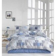 İpekçe Pamuklu ev Eva serisi kişilik yorgan yatak örtüsü seti Adonia mavi