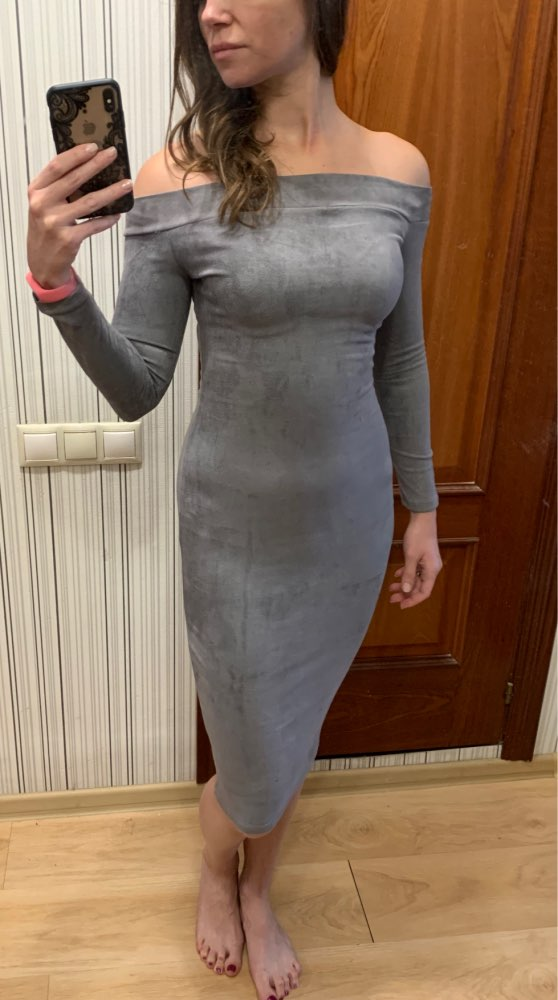 Hugcitar Suede Long Sleeve Off Shoulder Women Midi Bodycon Dress  Autumn Winter Female Sexy Warm Party Clothes photo review