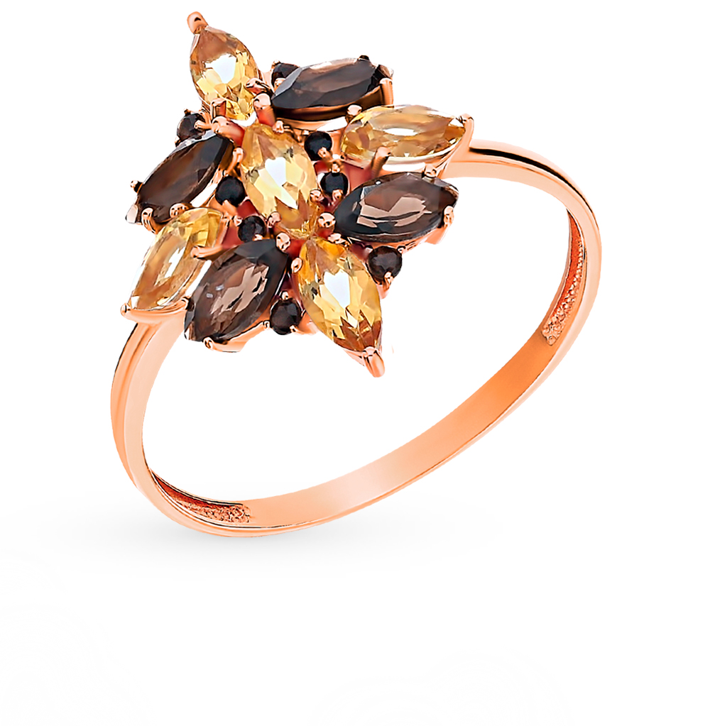 Gold Ring With Rauchtopazami And Citrines SUNLIGHT Test 585
