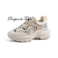 BHS 9011208 Genuine Cow Leather Suede Patchwork Pigskin 4.5CM Platform Sport Walking Running Training Casual Shoes Women Sneaker