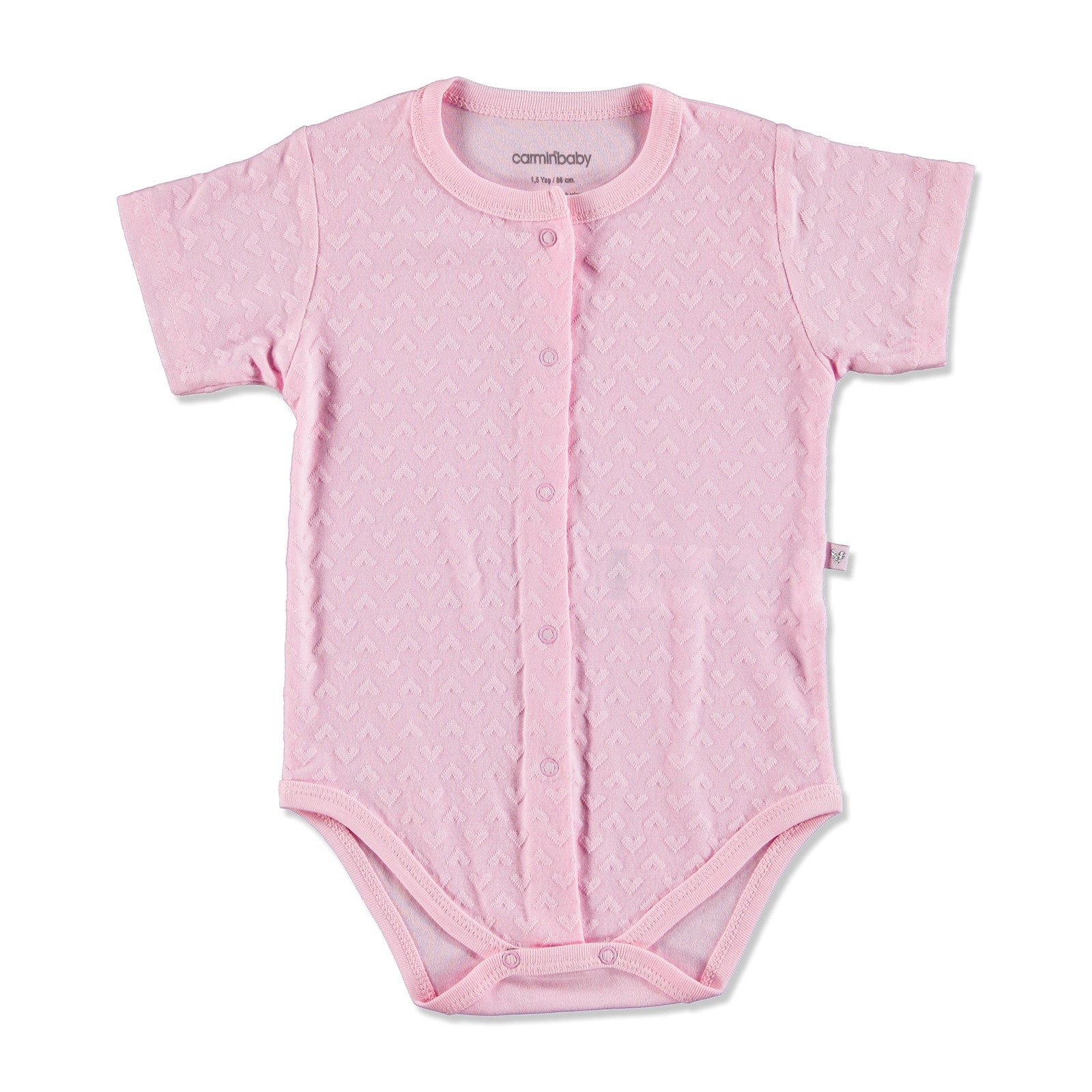 Ebebek Carmin Baby Summer Girl Heart Patterned Jacquard Bodysuit