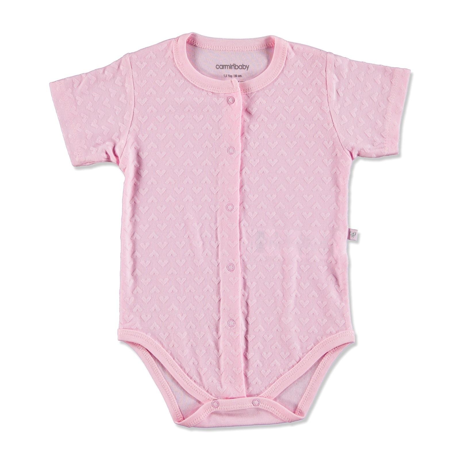 Ebebek Carmin Baby Summer Girl Heart Patterned Jacquard Bodysuit