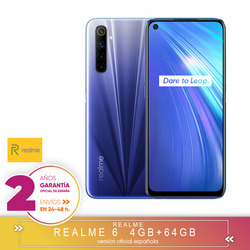 [Official Spanish guarantee version] Realme 6 4  64gb, 4  128gb, 8  128gb Octa Core Smartphone, four cameras, side fingerprint reader