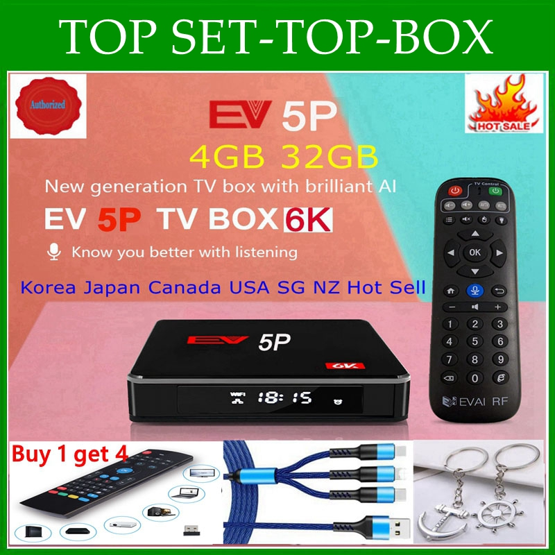 [Подлинный] 2021 EVBOX 5P 6K AI VOICE dual WIFI smart tv box, лидер продаж в Японии, Корее, США, Канаде, NZ AUS pk Evpad 5P Evpad Plus