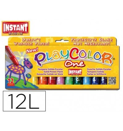 TEMPERA SOLID STICK PLAYCOLOR SCHOOL BOX OF 12 ASSORTED COLORS