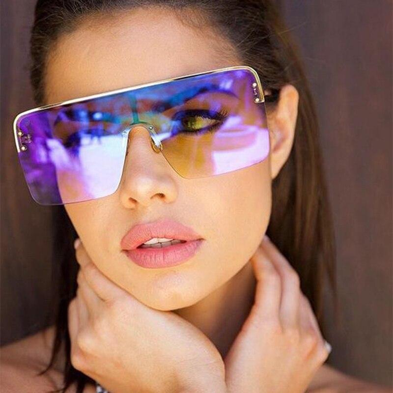New Eyewear Metal Frame Shades Big Women Fashion Designer Sunglasses