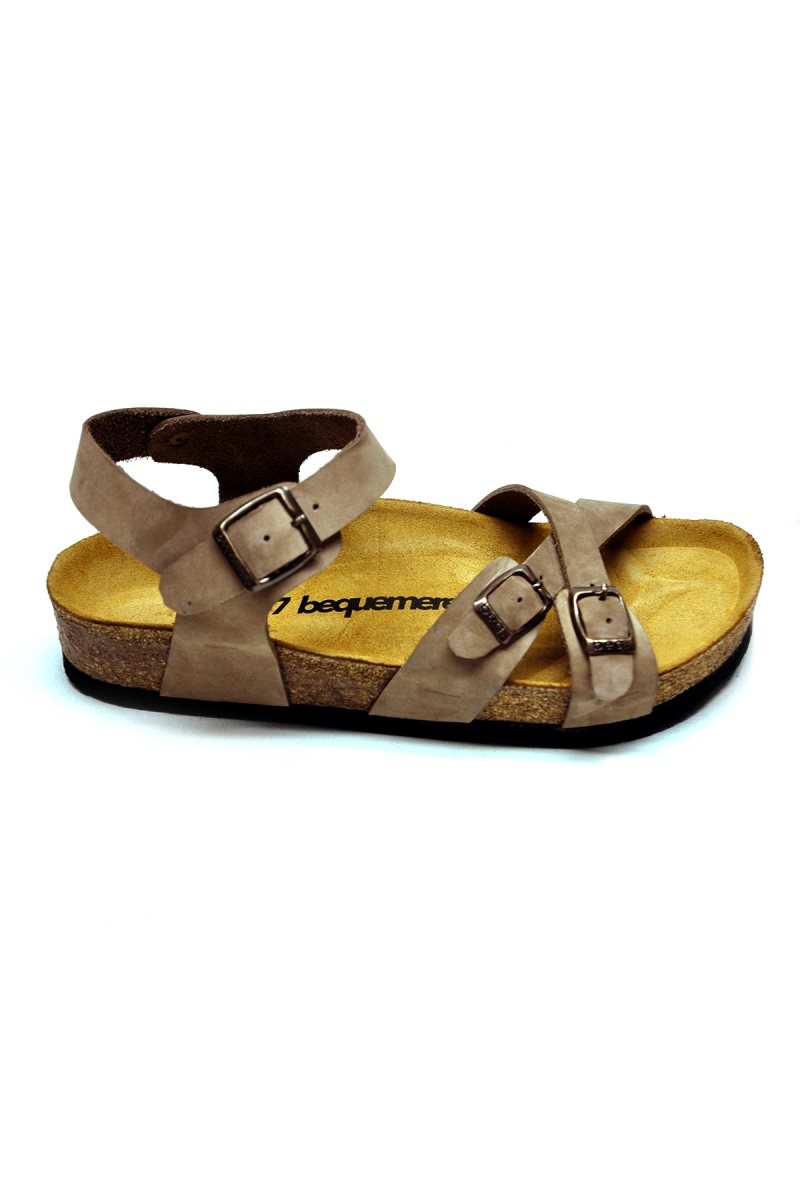 PANDORA Beige Thong Sandals Anatomical Natural Cork Sole Real Leather Women Ankle Strap Sandals