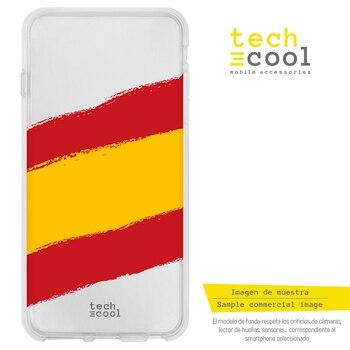 FunnyTech® Funda Silicona para LG Q6 / Q6+ / Q6 alpha l Bandera España Transparente