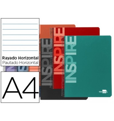 SPIRAL NOTEBOOK LEADERPAPER A4 MICRO INSPIRE HARDCOVER 160H 60 GR HORIZONTAL 5 BANDS 4 DRILLS ASSORTED COLORS