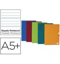 Блокнот, бумага для записей, А5 плюс, 48 листов, 90 г/м2, полосатая Монтессори, 3,5 мм, маржа, разные цвета, 5 штук