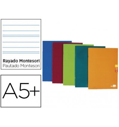 NOTEPAD LEADERPAPER SCRIPTUS A5 PLUS 48 SHEETS 90G/M2 STRIPED MONTESSORI 3,5MM MARGIN ASSORTED Color 5 Units