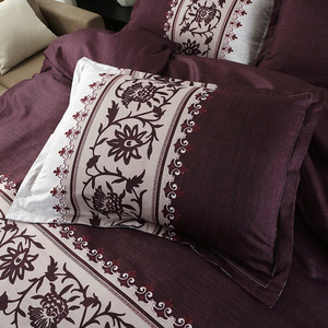Image 3 - بسيطة فاخرة الملك الحجم الفراش مجموعات الأزهار الجاكار سرير مطبوع حاف الكتان مجموعة غطاء لحاف يغطي المفارش (لا غطاء سرير)