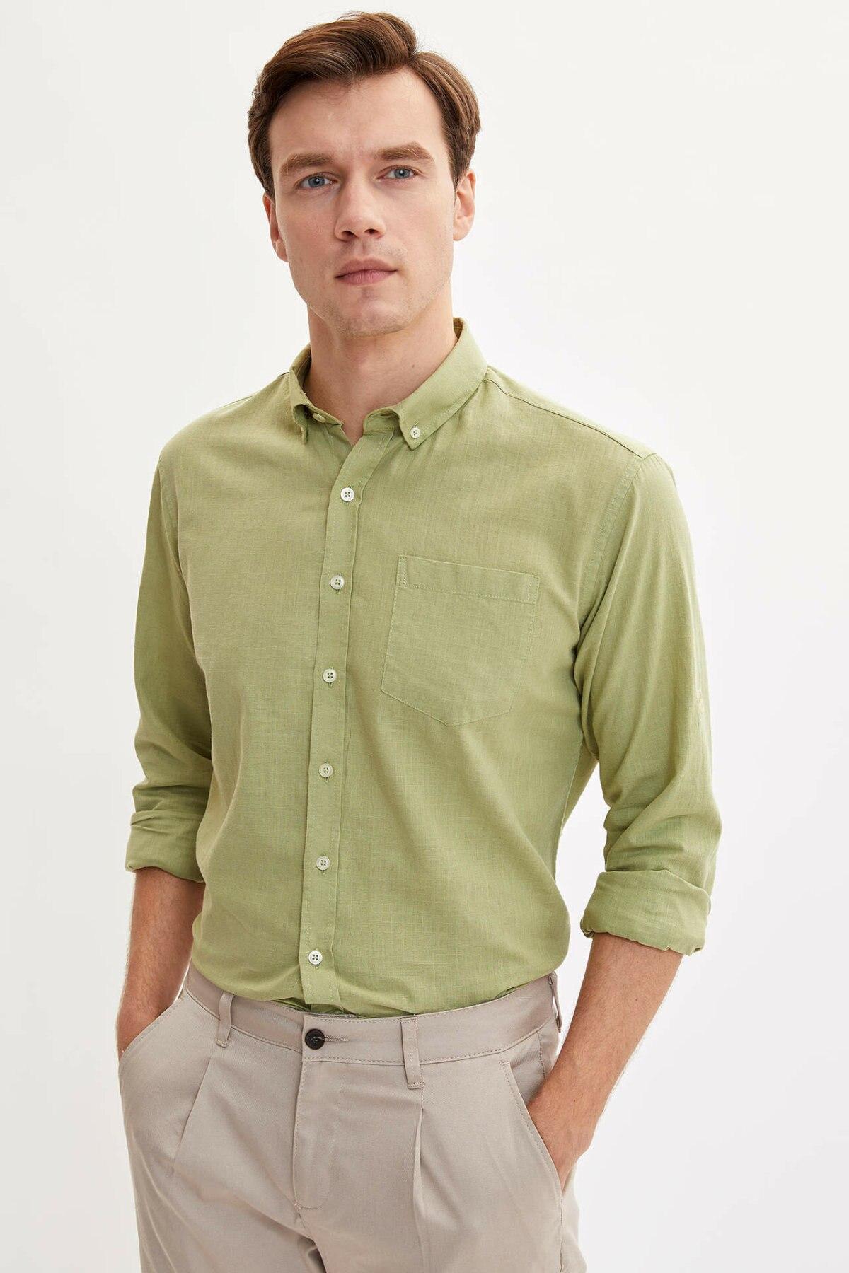 DeFacto Man Autumn Solid Color Top Shirts Men Blue Red Color Shirts Male Smart  Casual Long Sleeve Shirt-M3743AZ19AU