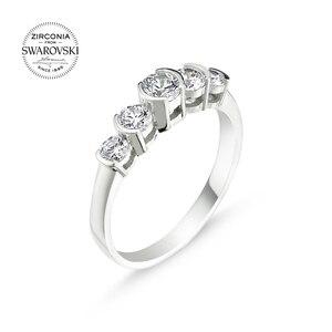 Серебряное 925 пробы кольцо с кристаллами Swarovski