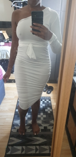 Women Elegant Fashion Sexy White Cocktail Party Slim Fit Dresses One Shoulder Belted Ruched Design Bodycon Midi Dress photo review