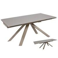 Yemek masası kristal Metal gri (160X90x76 cm)