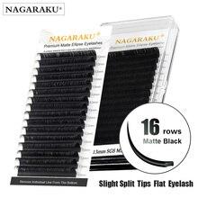 NAGARAKU 속눈썹 메이크업 플랫 타원형 스플릿 팁 타원 모양 자연광 가짜 타원형 속눈썹 다크 블랙 속눈썹 매트