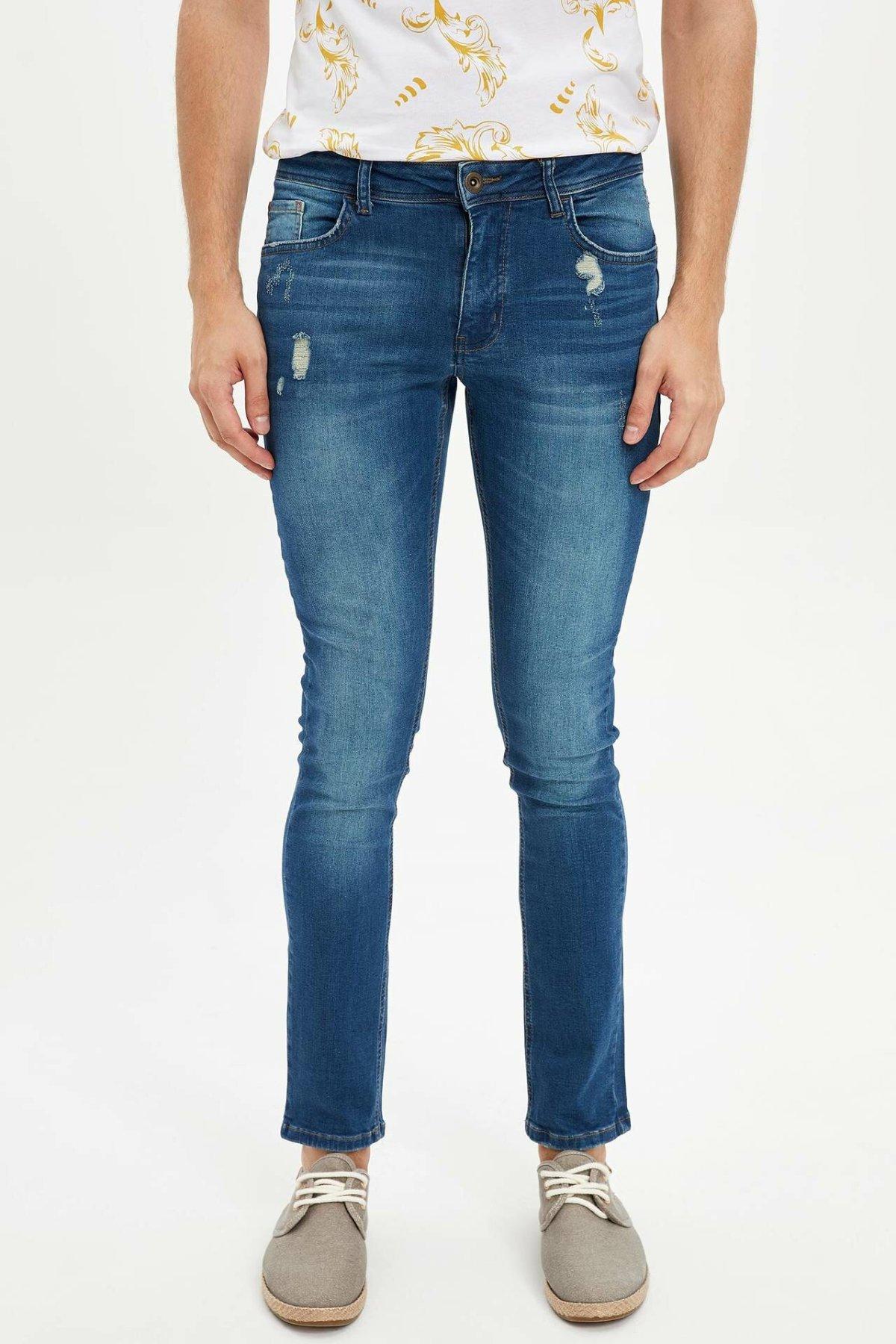 DeFacto Man Fashion Blue Worn Simple Trousers Jeans Casual Classic Denim Jeans Casual Skinny Elasticity Pants Male -K8897AZ19SM