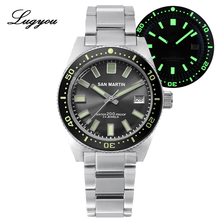 Lugyou San Martin 62Mas Mens Diver Watch Automatic Mechanical Stainless Steel Sapphire Rotating Bezel 20ATM Metal Bracelet SLN