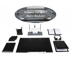 BEYKOZ офисный деловой черный кожаный Настольный набор, набор для настольного стола и Кристальный стол, именная табличка, бирка, главный Орган...