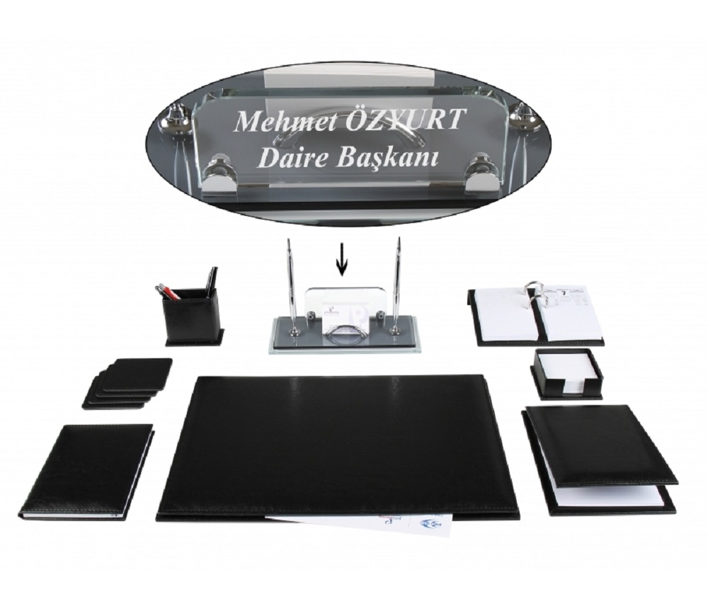 BEYKOZ Office Business Black Leather Desk Set Desk Pad Set Deskset And Crystal Table Name Plate Nameplate Tag Chief Organizer