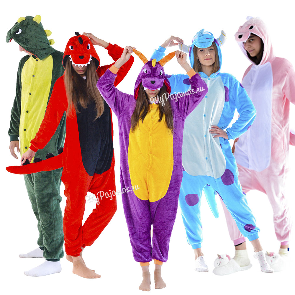 Pajamas Kigurumi Dinosaurs, Dragons And Sullivan Monsters Corporation, Women's And Men's Suits.