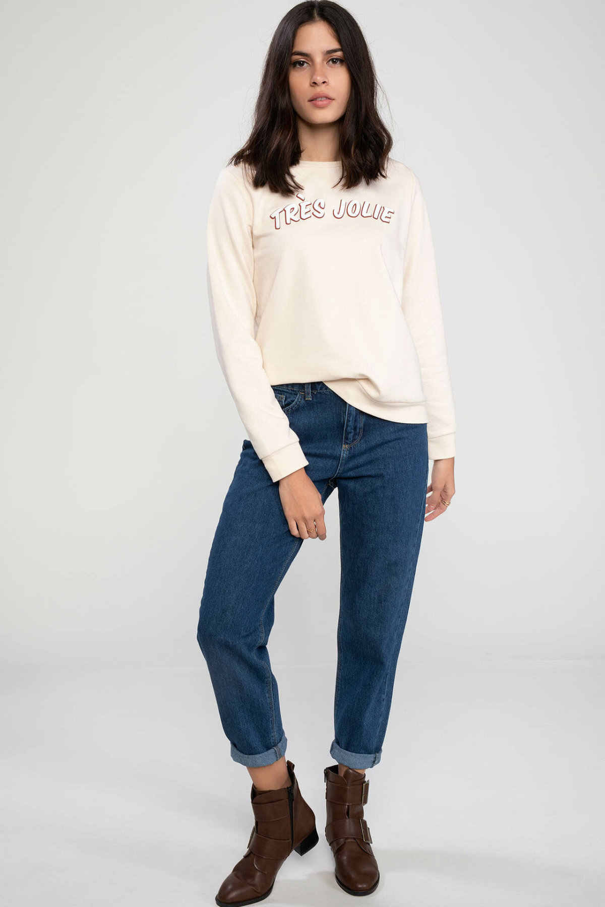 DeFacto kobiety proste Crewneck wzór w napisy luźny pulower z długim rękawem kobiety bluzy topy jesień nowy-K4908AZ18WN