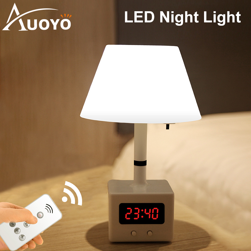 Auoyo Table Lamp Rechargeable Table Light Remote Control LED Night Light With Clock 10 Level Brightness Desk Lamp